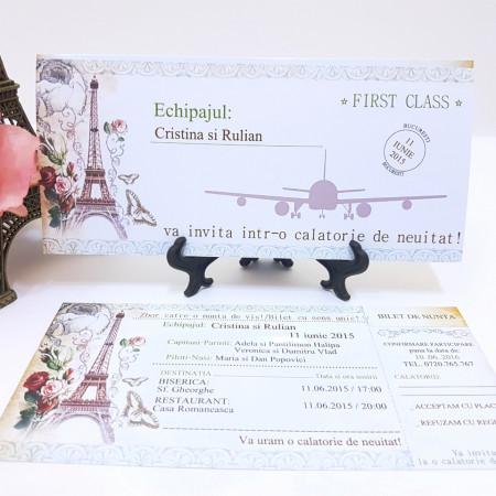 Invitatie Nunta BBS7 Bilet de Calatorie Paris