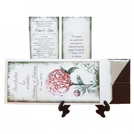 Invitatie Nunta Ciocolata Bujor