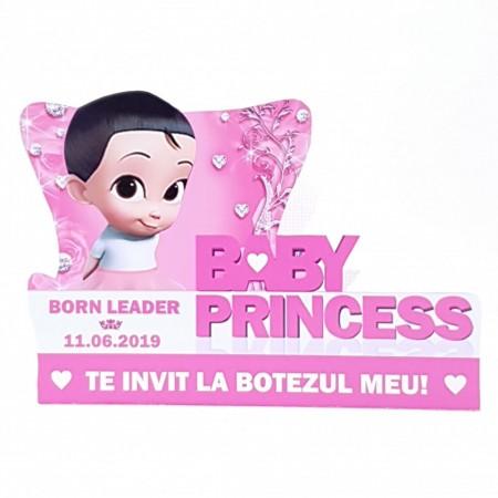Invitatie Botez Contur Baby Princess 2