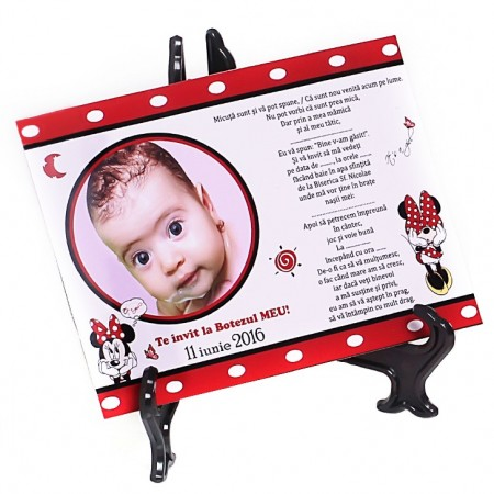 Invitatie Botez Magnetica Minnie Mouse