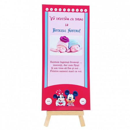 Invitatie Gemeni Ciocolata Mickey-Minnie