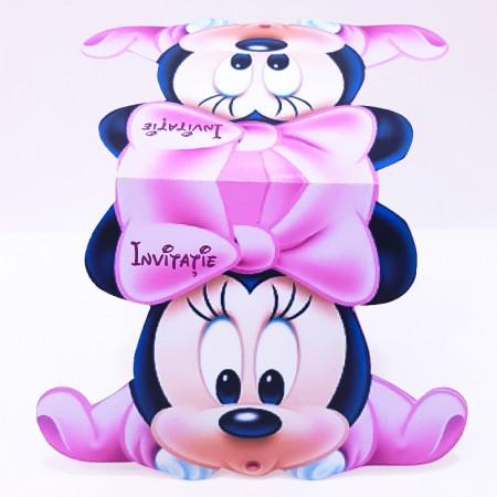 Invitatie Gemeni Contur Minnie Mouse