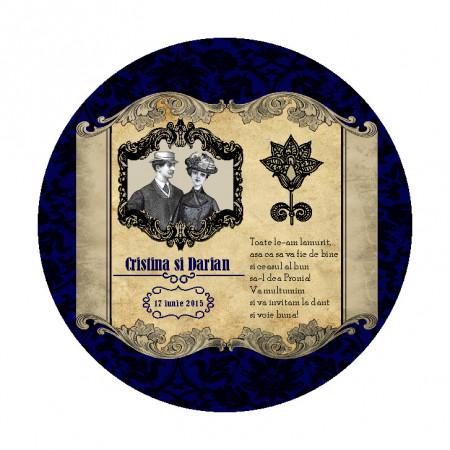 Marturie Nunta Magnet Rotund Caragiale Blue