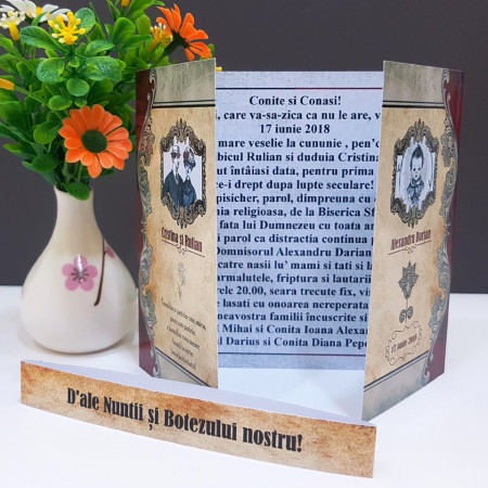 Invitatie 2 in 1 Nunta-Botez Regal NB7