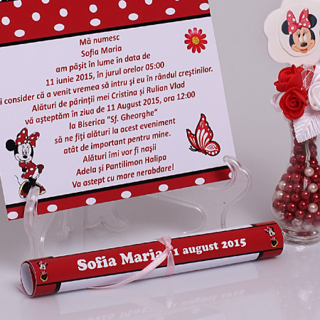Invitatie Botez Papirus Minnie Mouse 2