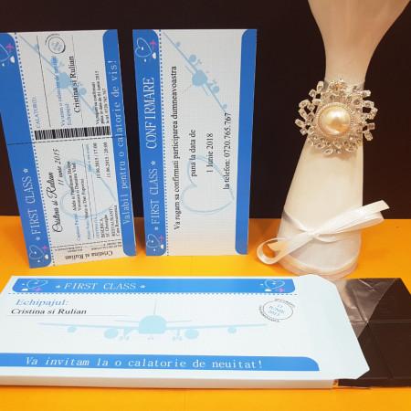 Invitatie Nunta Ciocolata Bilet de Avion