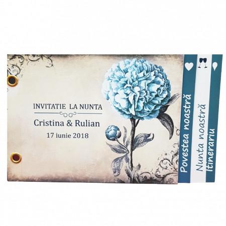 Invitatie Nunta Poveste Bujor Albastru