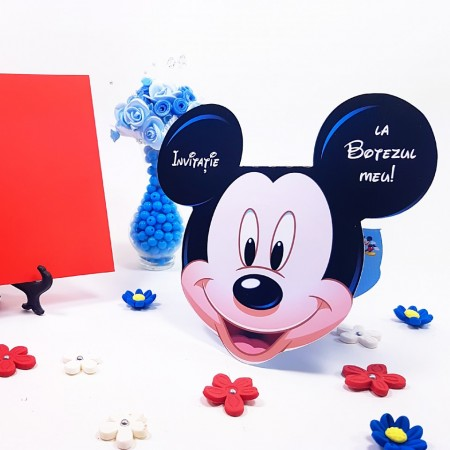 Invitatie Botez Contur Mickey Mouse 1