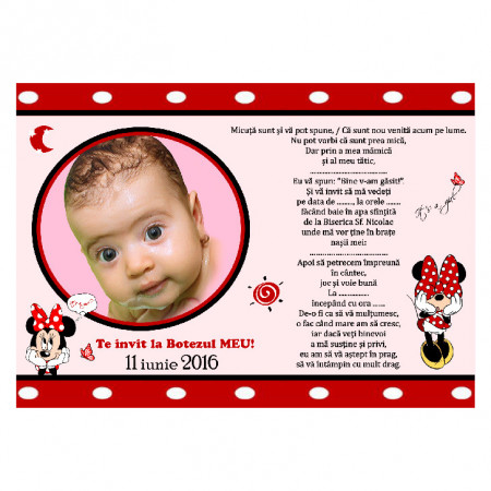 Invitatie Botez Magnetica Minnie Mouse 4