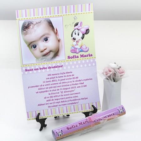 Invitatie Botez Papirus Minnie Mouse