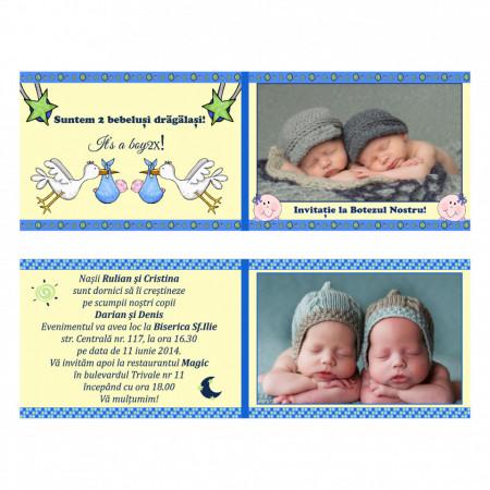 Invitatie Gemeni Dubla 2-Bebelusi Var 1