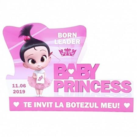 Invitatie Botez Contur Baby Princess 1