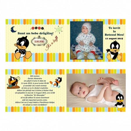 Invitatie Botez Dubla Baby Duffy Duck