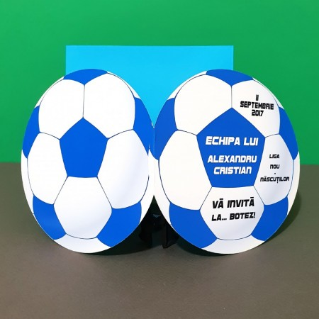 Invitatie Botez Fotbal Alb-Albastru-Negru
