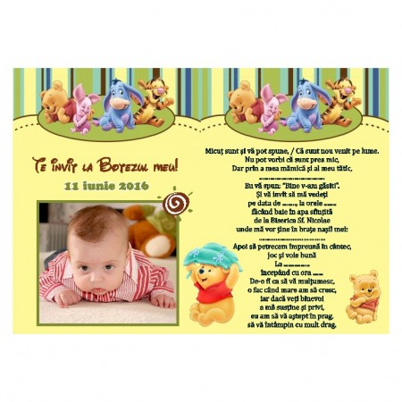 Invitatie Botez Magnetica Winnie The Pooh