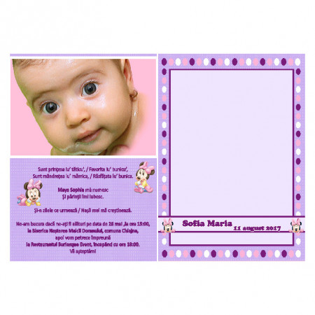 Invitatie Botez Papirus Minnie Mouse 3