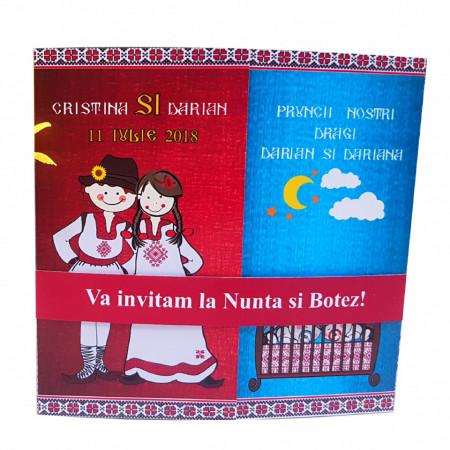 Invitatie 2 in 1 Nunta-Botez Regal NB6