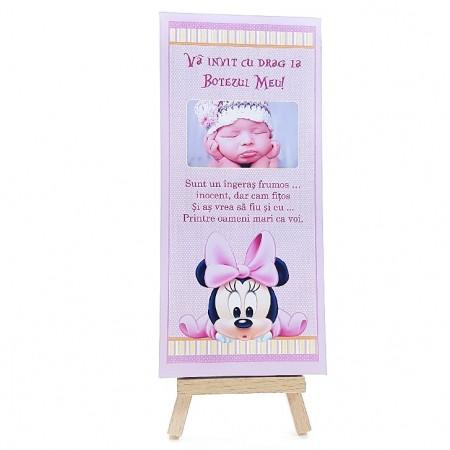 Invitatie Botez Cutie de Ciocolata Minnie Mouse