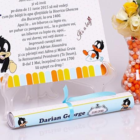 Invitatie Botez Papirus Duffy Duck