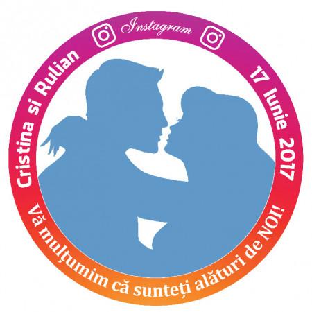 Marturie Nunta Magnet Rotund Instagram