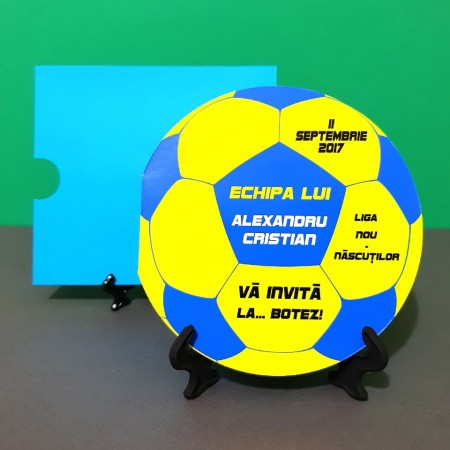 Invitatie Botez Fotbal Galben-Albastru