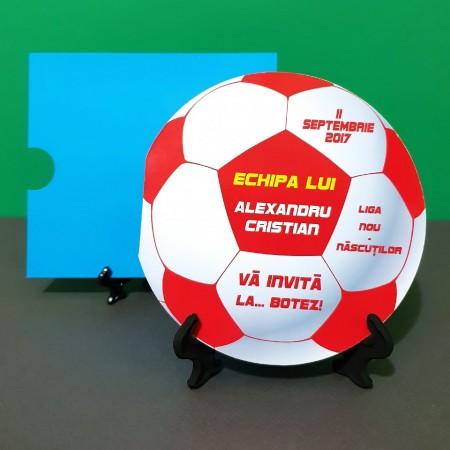 Invitatie Botez Fotbal Rosu-Alb-Galben