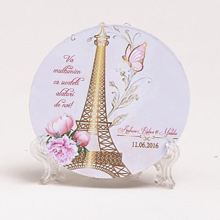 Marturie Nunta Magnet Rotund Paris in Gold