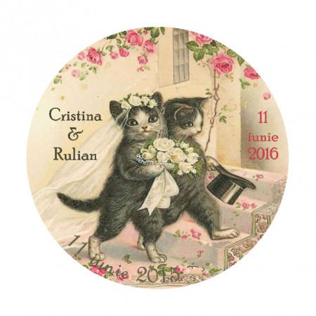 Marturie Nunta Magnet Rotund Vintage Cats