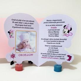 Invitatie Botez Contur Minnie Mouse 10