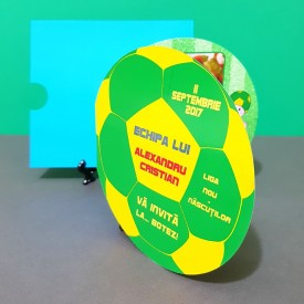 Invitatie Botez Fotbal Galben-Verde