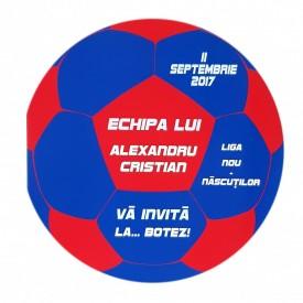 Invitatie Botez Fotbal Rosu-Alb-Albastru
