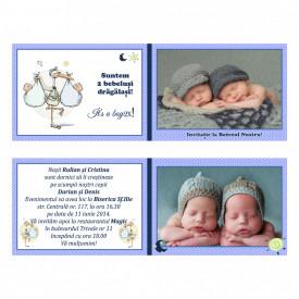 Invitatie Gemeni Dubla 2-Bebelusi Var 2