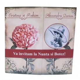 Invitatie 2 in 1 Nunta-Botez Regal NB11