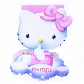 Invitatie Botez Contur Hello Kitty 3