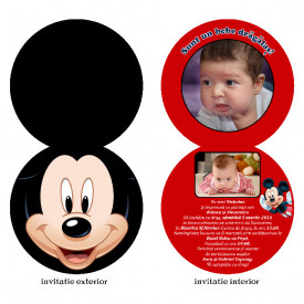 Invitatie Botez Rotunda Dubla Mickey Mouse 1
