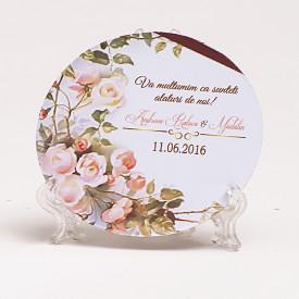 Marturie Nunta Magnet Rotund Wedding Flowers
