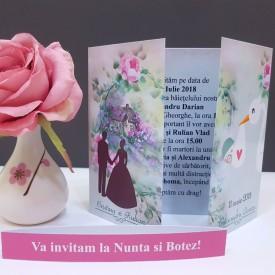 Invitatie 2 in 1 Nunta-Botez Vintage NB12