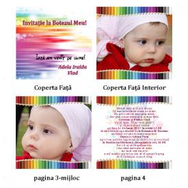 Invitatie Botez Carticica Creioane Colorate Roz