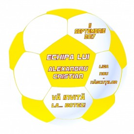 Invitatie Botez Fotbal Alb-Galben
