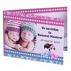 Invitatie Gemeni Dubla Bebelus-Bebelusa Var 4