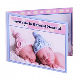 Invitatie Gemeni Dubla Ingeras Bleu-Ingeras Roz