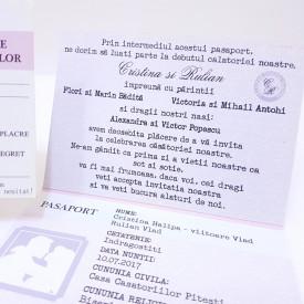 Invitatie Nunta BBS3 Pasaport in DOI Roz