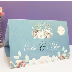 Invitatie Nunta Florale Vintage Albastru