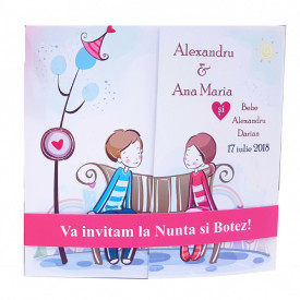 Invitatie 2 in 1 Nunta-Botez Regal NB2