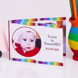 Invitatie Botez Dubla Creioane Colorate 1