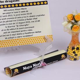 Invitatie Botez Papirus Maya Albinuta