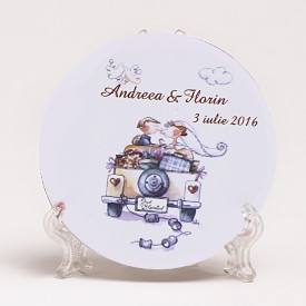 Marturie Nunta Magnet Rotund Just Married