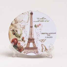 Marturie Nunta Magnet Rotund Paris in Love 1