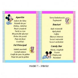 Meniu Botez Gemeni Simplu Mickey/Minnie