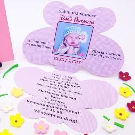 Invitatie Botez Contur Fluture